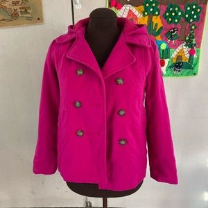 Old Navy Fuchsia Double Button PeaCoat Kids Sz 14